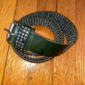 Forest green leather belt